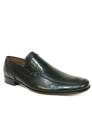 Burç 685 Siyah Deri Kösele Bağcıksız Erkek Ayakkabı