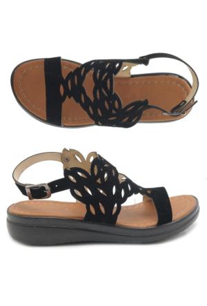 Fantasy W3021 Siyah Düz Taban Kadın Sandalet