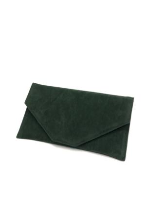 Yeşil Süet Zarf Abiye Çanta