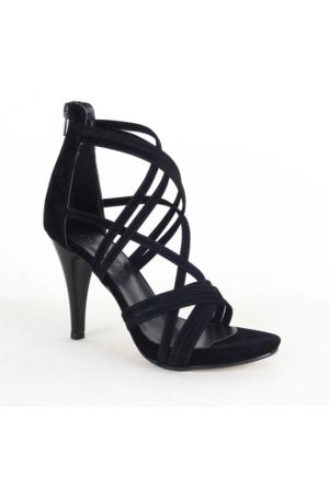 Mitto 334 Bayan Süet Topuklu Ayakkabı Siyah