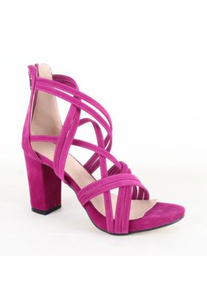 Mitto 334 Bayan Süet Topuklu Ayakkabı Fuşya