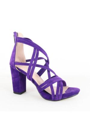 Mitto 334 Bayan Süet Topuklu Ayakkabı Mor
