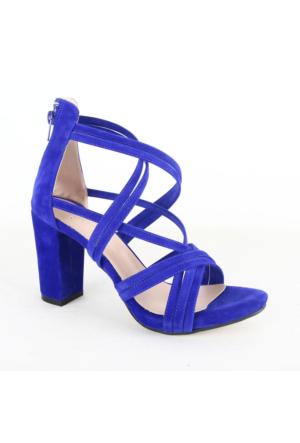 Mitto 334 Bayan Süet Topuklu Ayakkabı Sax