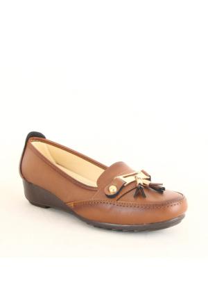 Wanetti 1103 Bayan Püsküllü Günlük Ayakkabı Taba