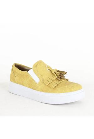 Witty 331 Bayan Kalın Taban Ayakkabı Sarı
