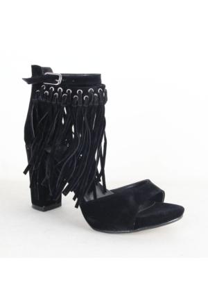 335 Bayan Süet Püsküllü Topuklu Ayakkabı Siyah