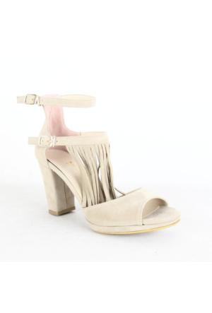 Kadir Ekici 400 Bayan Püsküllü Topuklu Ayakkabı Vizon