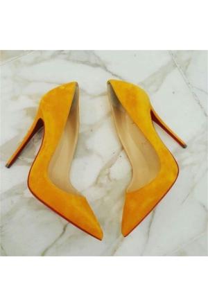 AyakkabıDevi Alcinia Sarı Stiletto Ayakkabı