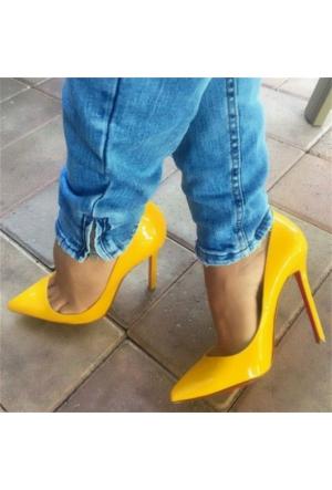 AyakkabıDevi Eliane Sarı Rugan Stiletto Ayakkabı