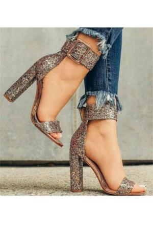 AyakkabıDevi Evony Cam Kırıgı Gümüş Stiletto Ayakkabı