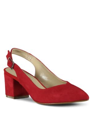 Marjin İgna Topuklu Ayakkabı Kırmızı Süet