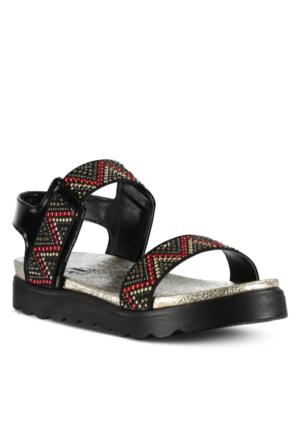 Marjin Kaş Düz Sandalet Siyah