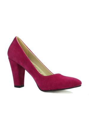 İntenin Süet Fuşya Topuklu Stiletto Ayakkabı