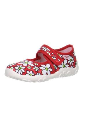 Super Fit Kız Çocuk Ev Ayakkabısı Fire Kombi Textil Bonny 281.71 Kırmızı Çiçekli