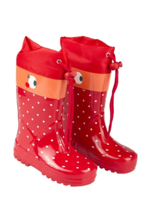 Tuc Tuc Kız Çocuk Yağmur Çizmesi Bugs Kırmızı Puanlı