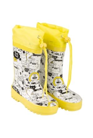 Tuc Tuc Çocuk Yağmur Botu Crazy Lemons Beyaz Desenli
