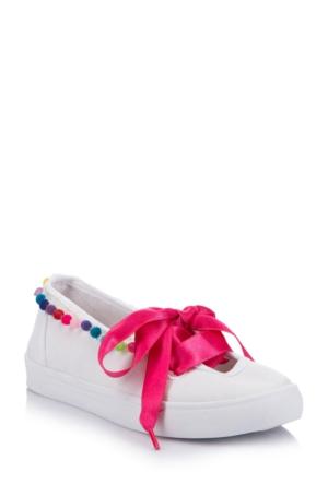 DeFacto Kız Çocuk Fiyonklu Ayakkabı Beyaz