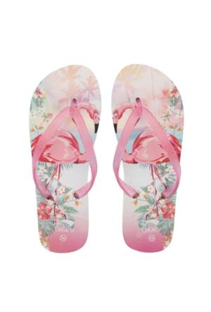 DeFacto Kız Çocuk Flamingo Baskılı Parmak Arası Terlik Pembe
