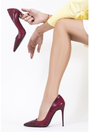 İlvi Rocio 1039 Stiletto Bordo Yılan