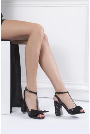 İlvi Lina 103 Sandalet Siyah Rugan Süet
