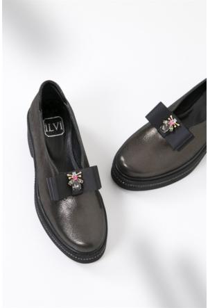 İlvi Jannet Gm-1009 Loafer Ayakkabı Platin Saten