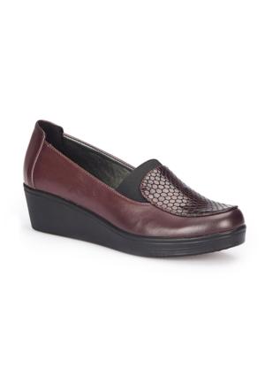Polaris 72.158086.Z Bordo Kadın Dolgu Topuk Ayakkabı