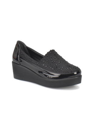 Travel Soft Sts003 Siyah Kadın Dolgu Topuk Ayakkabı