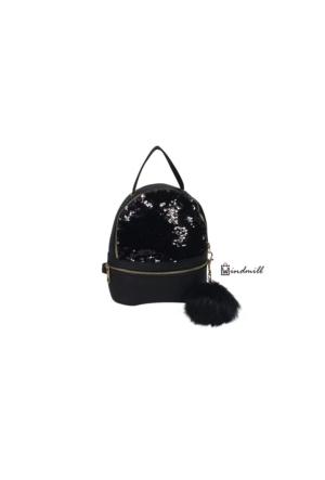 Windmill Kadın Sırt Çanta Simli Siyah