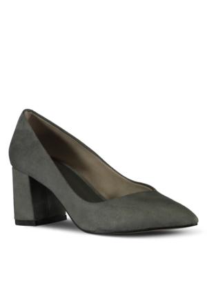 Marjin Aki Topuklu Ayakkabı Gri Süet