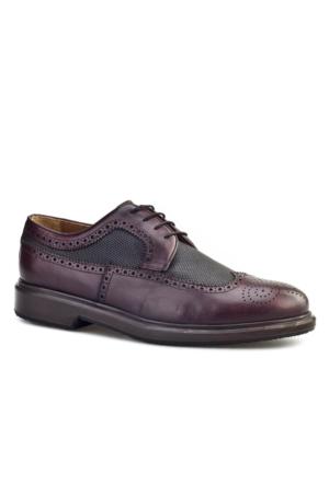 Cabani Lazerli Oxford Erkek Ayakkabı Bordo Deri