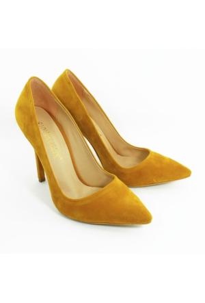Rıdvan Çelik Kadın Stiletto Topuklu Ayakkabı-Kadife Hardal-113336-03