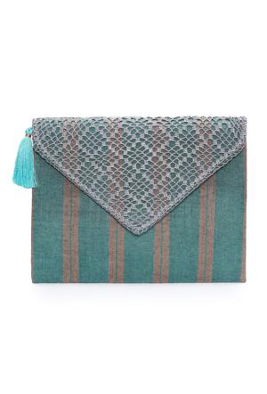 Turquoise Tassel Mint Ibag36 Zarf Çanta
