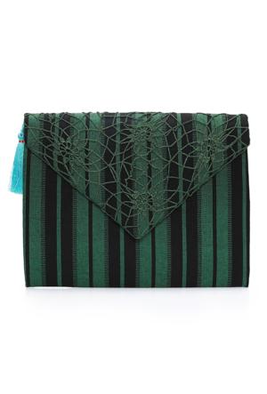 Turquoise Tassel Yeşil Ibag29 Zarf Çanta