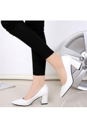 Sothe Ba-1024 Kadın Beyaz Mat Rugan Kısa Kalın Topuklu Stiletto