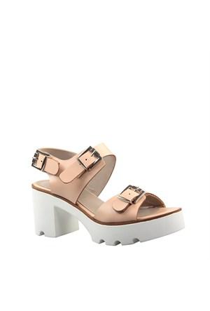 Cabani Kalın Tabanlı Günlük Kadın Ayakkabı Pembe Deri