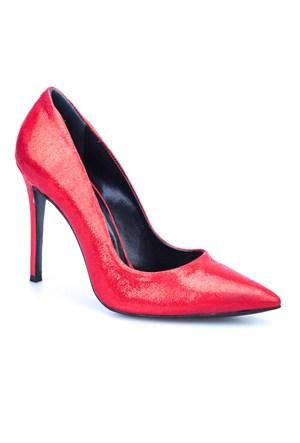 Crunell Stiletto Günlük Kadın Ayakkabı Kırmızı Kumaş