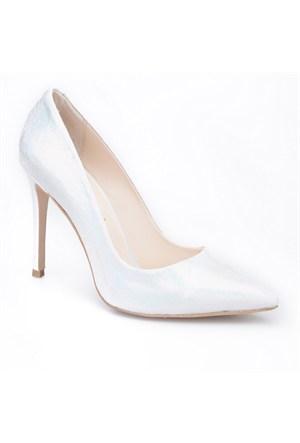 Crunell Stiletto Günlük Kadın Ayakkabı Gümüş Kumaş