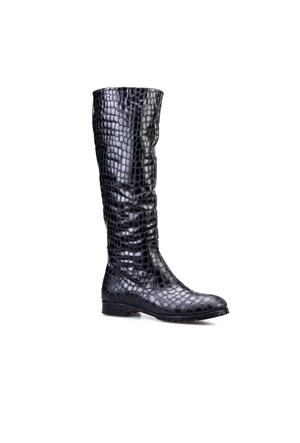 Cabani Kürklü Günlük Kadın Çizme Siyah Croco Deri