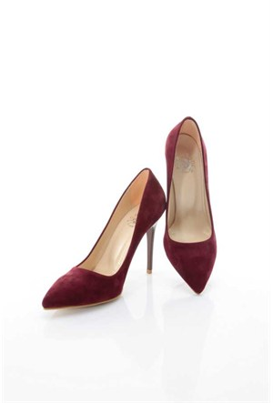 Shoes&Moda Bordo (Suet) Kadın Stiletto Ayakkabı 509-6-Nz015827