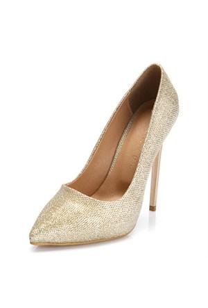 Sothe Zy-1976 Altın Bayan Stiletto Ayakkabı