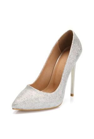 Sothe Zy-1976 Gümüş Bayan Stiletto Ayakkabı