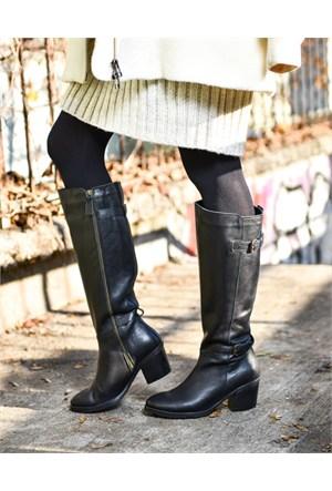 Bueno Siyah Fermuarlı Tokalı Deri Kadın Çizme