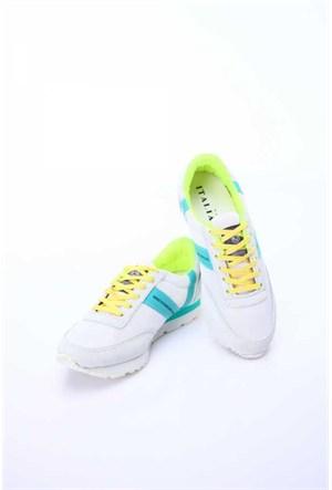 Versace 19.69 Abbigliamento Sportivo Srl. 19V69 Italia Unisex Beyaz-Açık Yeşil Deri Spor Ayakkabı 5Vxu60014t92