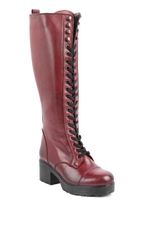 Gön Deri Kadın Çizme 43507 Bordo Antik