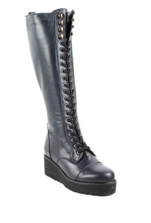 Gön Deri Kadın Çizme 43508 Lacivert Antik