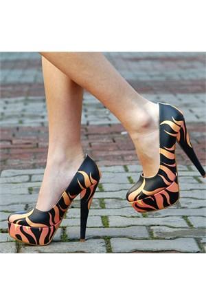 Sothe Kadın Platformlu Özel Tasarım Baskılı Ayakkabı