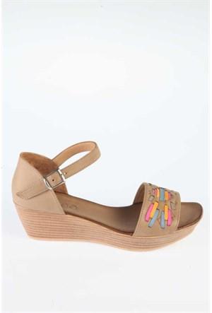 Bueno Bej Deri Renkli Kuşak Kadın Sandalet