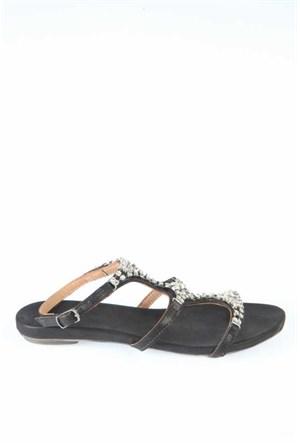 Bueno Siyah Simli Taşlı Deri Kadın Sandalet