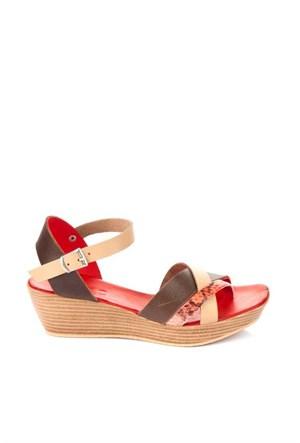 Bueno Kırmızı Gri Simli Yılan Deri Kadın Sandalet