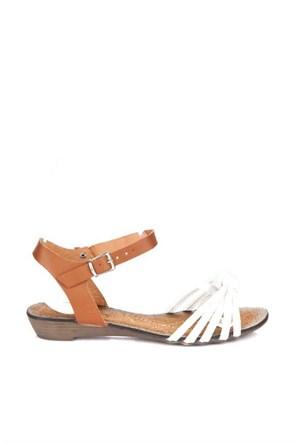 Bueno Beyaz Topuz Deri Kadın Sandalet